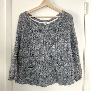 Anthropologie Moth gray and black sweater